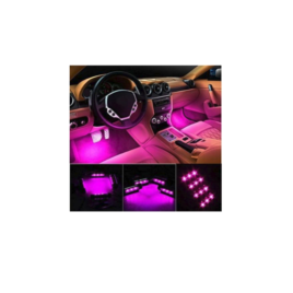 Car Interior Lights, EJ's SUPER CAR 4pcs 36 LED DC 12V Waterproof Atmosphere Neon Lights Strip (Pink)